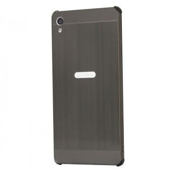 Двухкомпонентный чехол c металлическим бампером с поликарбонатной накладкой и текстурным покрытием Металл для Sony Xperia XA Ultra