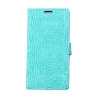Чехол портмоне подставка текстура Крокодил на силиконовой основе на магнитной защелке для Huawei Honor 8 Голубой