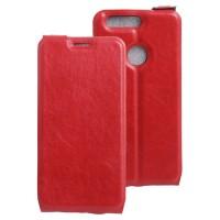 Винтажный чехол вертикальная книжка на силиконовой основе с отсеком для карт на магнитной защелке для Huawei Honor 8 Красный