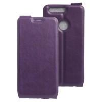 Винтажный чехол вертикальная книжка на силиконовой основе с отсеком для карт на магнитной защелке для Huawei Honor 8  Фиолетовый