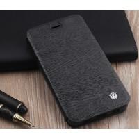 Чехол горизонтальная книжка подставка текстура Дерево на силиконовой основе для Huawei Honor 8  Черный
