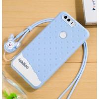 Силиконовый матовый непрозрачный дизайнерский фигурный чехол для Huawei Honor 8  Голубой