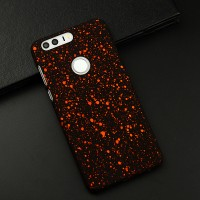Пластиковый непрозрачный матовый чехол с голографическим принтом Звезды для Huawei Honor 8  Оранжевый