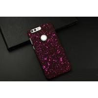 Пластиковый непрозрачный матовый чехол с голографическим принтом Звезды для Huawei Honor 8  Розовый