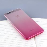 Силиконовый матовый полупрозрачный градиентный чехол для Huawei Honor 8 Розовый