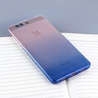 Силиконовый матовый полупрозрачный градиентный чехол для Huawei Honor 8 Синий
