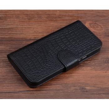 Кожаный чехол портмоне подставка (премиум нат. кожа крокодила) с крепежной застежкой для Huawei Honor 8