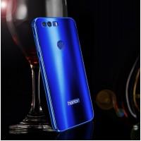 Двухкомпонентный чехол c металлическим бампером с поликарбонатной накладкой и текстурным покрытием Металл для Huawei Honor 8  Синий