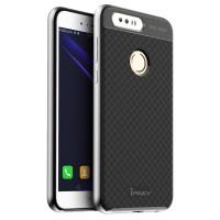 Двухкомпонентный силиконовый матовый непрозрачный чехол с поликарбонатным бампером для Huawei Honor 8  Белый