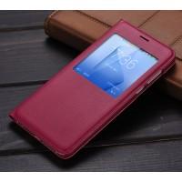 Чехол горизонтальная книжка текстура Золото на пластиковой основе с окном вызова для Huawei Honor 8  Красный