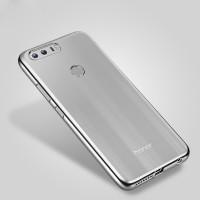 Силиконовый матовый полупрозрачный чехол с текстурным покрытием Металлик для Huawei Honor 8  Серый