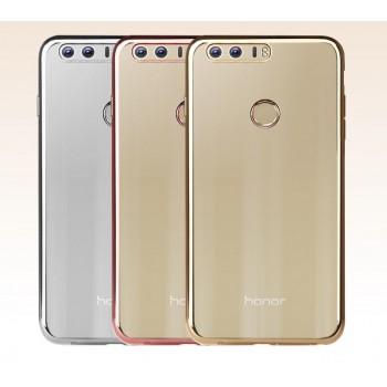 Силиконовый матовый полупрозрачный чехол с текстурным покрытием Металлик для Huawei Honor 8