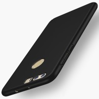 Пластиковый непрозрачный матовый чехол с улучшенной защитой элементов корпуса для Huawei Honor 8  Черный
