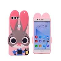 Силиконовый матовый непрозрачный дизайнерский фигурный чехол для Huawei Honor 8  Розовый