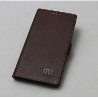 Кожаный чехол горизонтальная книжка подставка на силиконовой основе с крепежной застежкой для Xiaomi RedMi Pro  Коричневый
