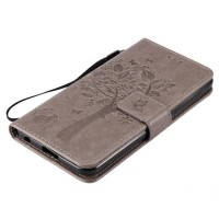 Винтажный чехол портмоне подставка на силиконовой основе на магнитной защелке для LG X Power  Серый