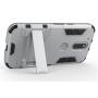 Противоударный двухкомпонентный силиконовый матовый непрозрачный чехол с поликарбонатными вставками экстрим защиты с встроенной ножкой-подставкой для Lenovo Moto G4
