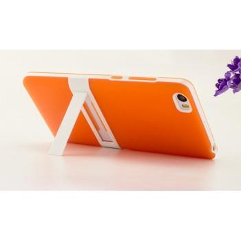 Двухкомпонентный силиконовый матовый непрозрачный чехол с поликарбонатным бампером и встроенной ножкой-подставкой для Xiaomi Mi Note