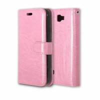 Глянцевый чехол портмоне подставка на силиконовой основе на магнитной защелке для LG K3  Розовый
