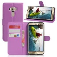 Чехол портмоне подставка на силиконовой основе на магнитной защелке для Asus ZenFone 3 5.2  Фиолетовый