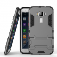 Противоударный двухкомпонентный силиконовый матовый непрозрачный чехол с поликарбонатными вставками экстрим защиты с встроенной ножкой-подставкой для Asus ZenFone 3 5.5 Серый