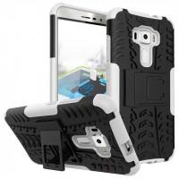 Противоударный двухкомпонентный силиконовый матовый непрозрачный чехол с поликарбонатными вставками экстрим защиты с встроенной ножкой-подставкой для Asus ZenFone 3 5.5 Белый