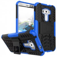 Противоударный двухкомпонентный силиконовый матовый непрозрачный чехол с поликарбонатными вставками экстрим защиты с встроенной ножкой-подставкой для Asus ZenFone 3 5.5 Синий
