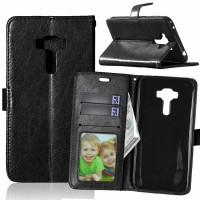 Глянцевый чехол портмоне подставка на силиконовой основе на магнитной защелке для Asus ZenFone 3 5.5 Черный