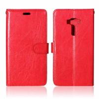 Глянцевый чехол портмоне подставка на силиконовой основе на магнитной защелке для Asus ZenFone 3 5.5 Красный