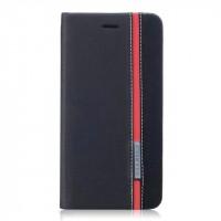 Чехол горизонтальная книжка подставка текстура Линии на силиконовой основе с отсеком для карт для Asus ZenFone 3 5.5 Черный