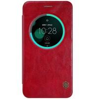 Чехол горизонтальная книжка на пластиковой основе с окном вызова текстура Кожа для Asus ZenFone 3 5.5 Красный