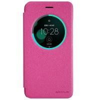 Чехол горизонтальная книжка на пластиковой нескользящей премиум основе с окном вызова для Asus ZenFone 3 5.5 Розовый