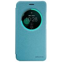 Чехол горизонтальная книжка на пластиковой нескользящей премиум основе с окном вызова для Asus ZenFone 3 5.5 Голубой