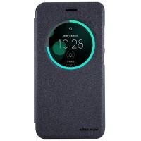 Чехол горизонтальная книжка на пластиковой нескользящей премиум основе с окном вызова для Asus ZenFone 3 5.5 Черный