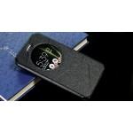 Чехол горизонтальная книжка подставка текстура Линии на силиконовой основе с окном вызова на магнитной защелке для Asus ZenFone 3