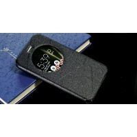 Чехол горизонтальная книжка подставка текстура Линии на силиконовой основе с окном вызова на магнитной защелке для Asus ZenFone 3 5.5 Черный