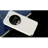 Чехол горизонтальная книжка подставка текстура Линии на силиконовой основе с окном вызова на магнитной защелке для Asus ZenFone 3 5.5 Белый