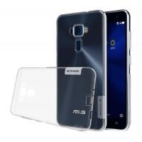 Силиконовый матовый полупрозрачный чехол с улучшенной защитой элементов корпуса (заглушки) для Asus ZenFone 3 5.5 Белый