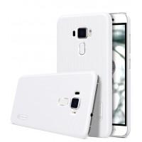 Пластиковый непрозрачный матовый нескользящий премиум чехол для Asus ZenFone 3 5.5 Белый