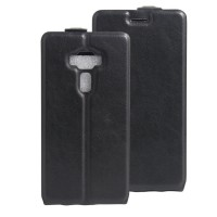 Чехол вертикальная книжка на силиконовой основе с отсеком для карт на магнитной защелке для Asus ZenFone 3 5.5 Черный