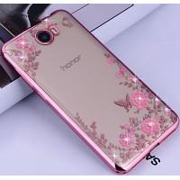 Силиконовый матовый полупрозрачный чехол с текстурным покрытием Узоры для Huawei Honor 5A/Y5 II  Розовый