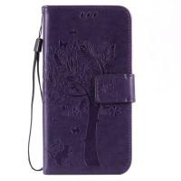Винтажный чехол портмоне подставка на силиконовой основе на магнитной защелке для Huawei Honor 5A/Y5 II Фиолетовый
