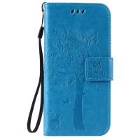 Винтажный чехол портмоне подставка на силиконовой основе на магнитной защелке для Huawei Honor 5A/Y5 II Голубой