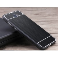 Двухкомпонентный чехол c металлическим бампером с поликарбонатной накладкой и текстурным покрытием Металл для Huawei Honor 5A/Y5 II Черный