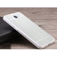 Двухкомпонентный чехол c металлическим бампером с поликарбонатной накладкой и текстурным покрытием Металл для Huawei Honor 5A/Y5 II Белый