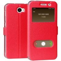 Чехол горизонтальная книжка подставка на силиконовой основе с окном вызова и полоcой свайпа на магнитной защелке для Huawei Honor 5A/Y5 II  Красный