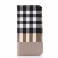 Чехол портмоне подставка текстура Клетка на пластиковой основе для Iphone 7 Бежевый