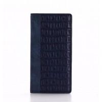 Чехол портмоне подставка текстура Крокодил на силиконовой основе для Iphone 7  Синий