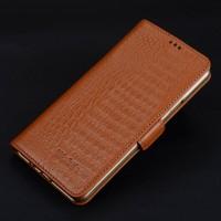 Кожаный чехол портмоне подставка (премиум нат. кожа крокодила) с крепежной застежкой для Iphone 7 Plus  Бежевый