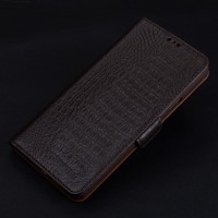 Кожаный чехол портмоне подставка (премиум нат. кожа крокодила) с крепежной застежкой для Iphone 7 Plus  Коричневый